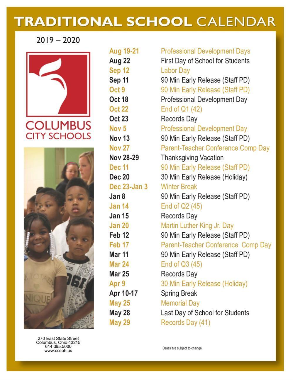 Columbus City Schools Calendar 2020 Arts Impact Middle School / Homepage
