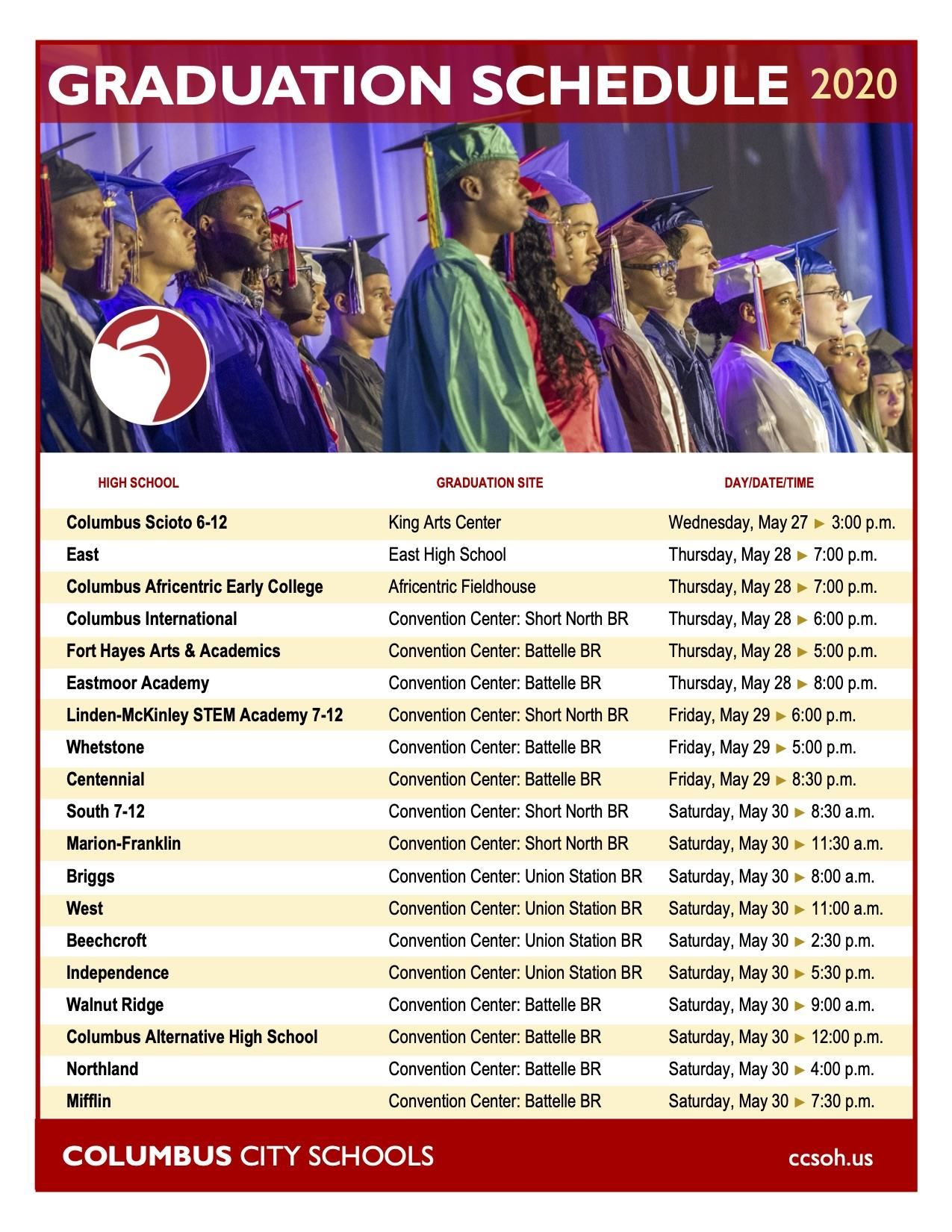 2020 Columbus City Schools Graduation Schedule