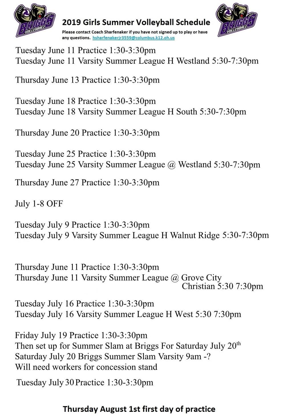 2019 Girls Summer Schedule