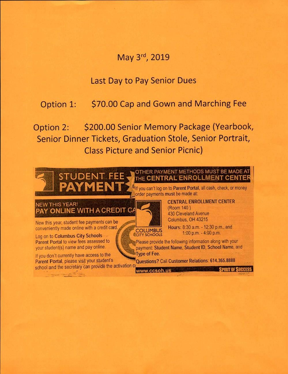 May 3rd Last Day for Senior Dues