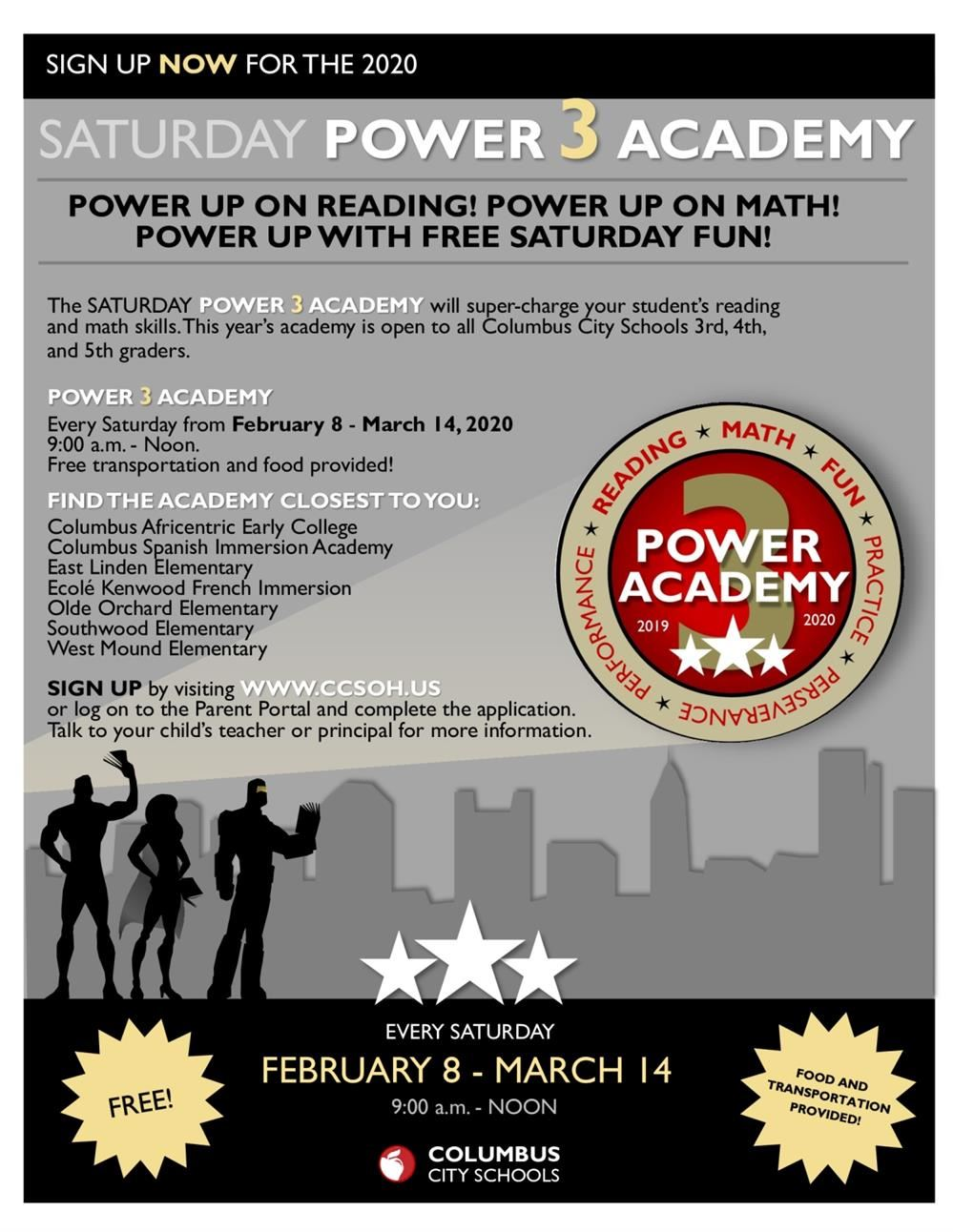 Saturday Power 3 Academy at CSIA Februray 3 thru March 4 from 9:00 - 12:00 PM every Saturday.