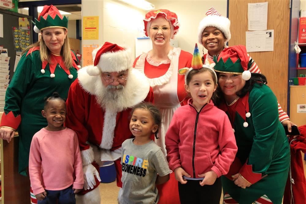 Santa with students