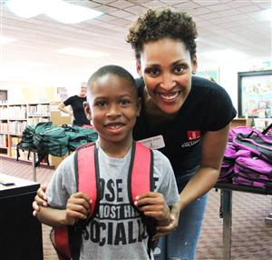 The Junior League of Columbus donated bookbags at Woodcrest Elementary