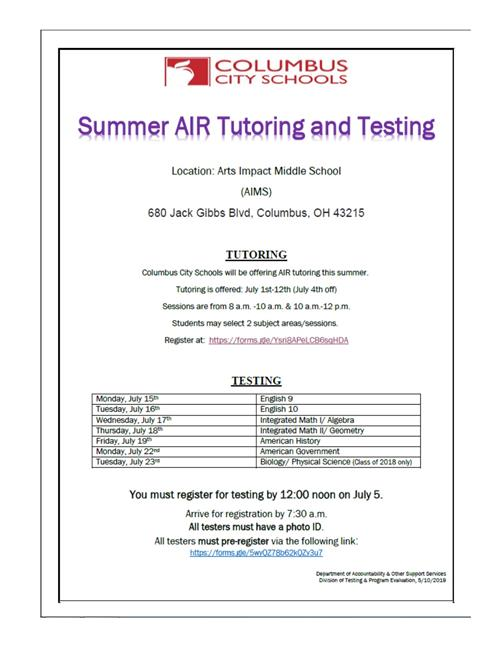 Summer AIR Tutoring and Testing