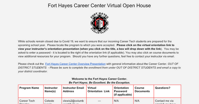 Fort Hayes Career Center Virtual Orientation 2020-21