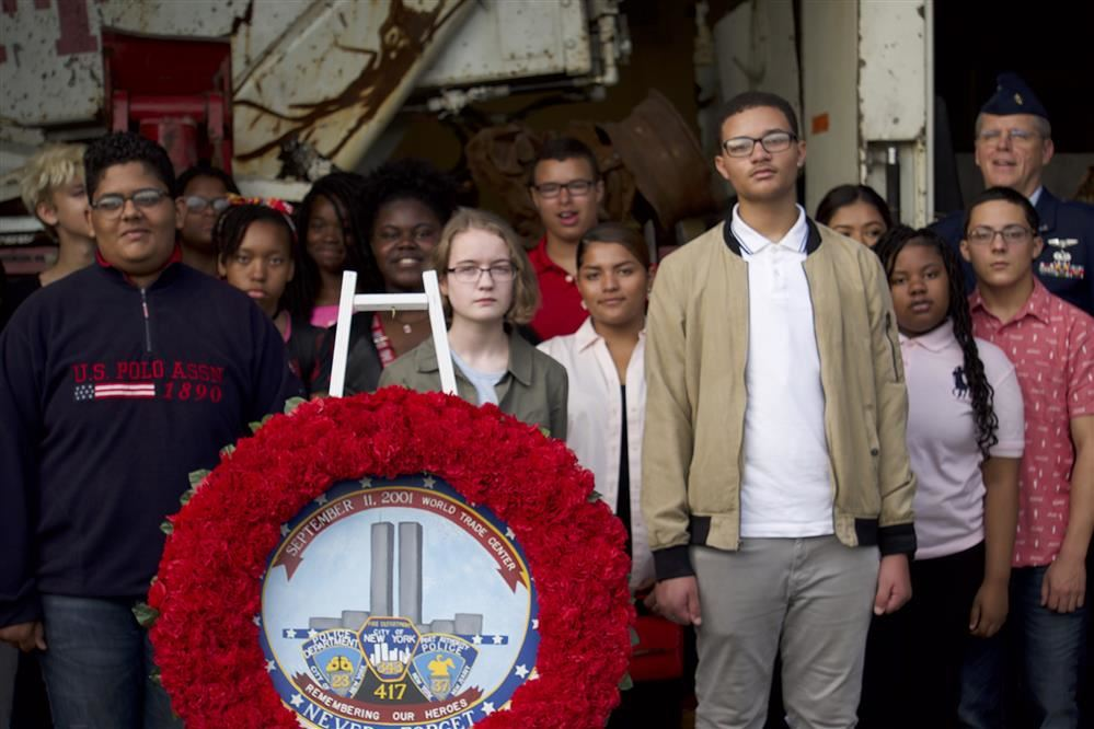 Fort Hayes Air Force Junior ROTC Cadets take group picture with Sept 11 wreath