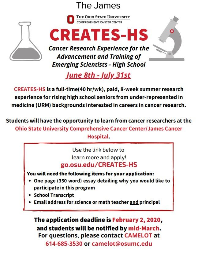 Cancer Research Experience for the Advancement and Training of Emerging Scientists - High School